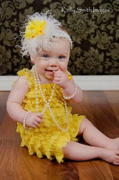 Omg i love this pic :) HEADBAND and petti lace   ROMPER with Shoulder by babyandmedesigns, $23.99