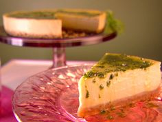 Mango Cheesecake with Basil Lemon Syrup Recipe : Giada De Laurentiis : Recipes : Food Network Mango Cheesecake, Cheesecake Recipes, Ricotta Cheesecake, Cheesecakes, Food Network Recipes, Food Processor Recipes, Lemon Syrup, Lemon Sauce, Mango Puree