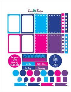 FREE Love & Parties: Planner Stickers  Aqua, Navy, Pink & Purple Theme   {Free Printable & Free Silhouette Cameo Print & Cut}