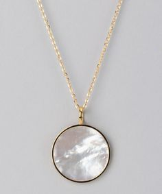 Take a look at this Yellow Gold Mother-of-Pearl Pendant Necklace by Chloe Collection on #zulily today!