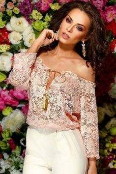 50d1c88769acd Off-shoulder Sheer Rose Strappy Neckline Lace Hollow-out Club Top Wholesale  Clothing