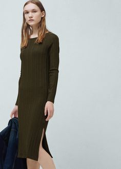 Robe texturée à rayures - Robes pour Femme   MANGO