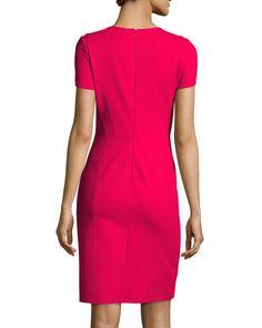 Cap-Sleeve Креп Оболочка платье, розовый