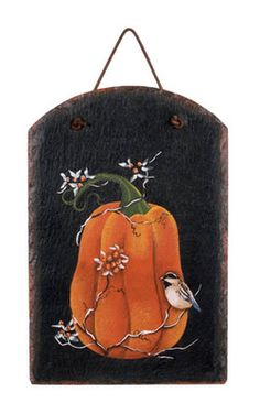 Fall Pumpkin Bittersweet Bird Slate