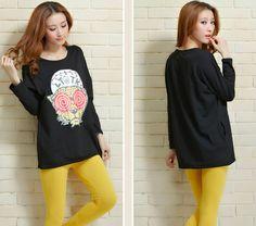 TC000553 Autumn loose bottoming shirt Korean style T-shirt for women