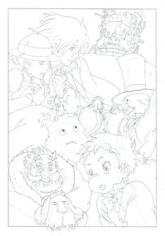 Clean line art for one of my favourite films, it's also one of the only times i prefer the American Dubbing to the Japanese. Howl's Moving Castle Line Art Studio Ghibli Poster, Studio Ghibli Art, Studio Ghibli Movies, Detailed Coloring Pages, Cute Coloring Pages, Coloring Books, Personajes Studio Ghibli, Castle Coloring Page, Anime Lineart
