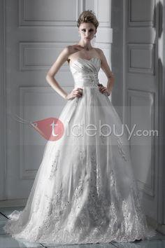 ボールガウンスイートハートネックチャペルレースウェディングドレス2012新スタイル