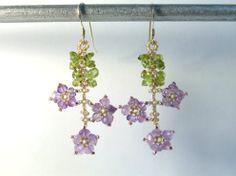 Amethyst Flower Earrings Amethyst Earrings by IrisElmJewelry