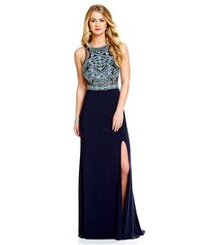 Coya Collection Beaded-Yoke Racerback Gown