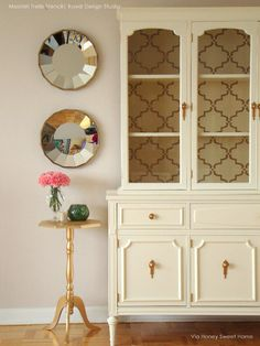 Wall paper for china cabinet
