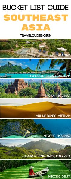 The ultimate itinerary for experiencing the top ten destinations in Southeast Asia. Travel to Pai, Thailand and experience a city brimming with culture through music, cuisine, and more. Head to Phu Quoc Island and take in the incredible landscape where the beautiful beaches meet turquoise water in Vietnam. Southeast Asia is a photography lover's dream. | Travel Dudes Travel Community #BucketList