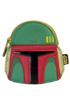 Star Wars Boba Fett Green/Red Faux Leather Face Coin Bag