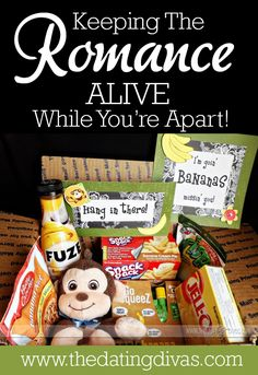"""Care Packages DIY Gift by The Dating Divas! Ideas like """"I'm going bananas mission' you,"""" """"Our Love is Red Hot,"""" """"Birthday in a Box,"""" """"Dinner & a Movie"""". Missionary Care Packages, Missionary Mom, Deployment Care Packages, Missionary Quotes, Lds Missionaries, Creative Gifts, Cool Gifts, Best Gifts, Creative Ideas"""
