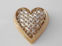 Trifari Heart Throbs Brooch Basket Weave by Libbysmomsvintage