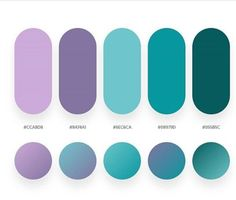 A beautiful purple to teal color palette including gradients and hex codes. Flat Color Palette, Purple Color Palettes, Colour Pallette, Colour Schemes, Color Patterns, Purple Color Code, Purple Palette, Purple Teal, Color Trends