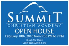 """We designed and are printing today the size 2' High by 3"""" Wide, double sided, yard signs to help build awareness and encourage participation for our client SUMMIT CHRISTIAN ACADEMY's  Open House event. To learn more about this special Christian school, visit the academy's web site at http://lexingtonsummit.org. See our wide format digital printer in action here. http://www.promoplace.com/ipa/GotoURL/?SpecialID=52399"""