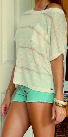 Top: Garage  Shorts: Pacsun  Bracelets: Gold-Charlotte Russe, White-F21