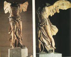 [사모트라스의 니케]  이 작품은 기원전 190년 경 완성된 작품으로, 루브르 박물관에 전시되어 있다. 에게해 북동쪽 까비르 신전의 많은 돌더미 가운데에서 발굴된 이 작품은 전함의 뱃머리에 달려있던 것이다. 날개달린 여신 사모트라스가 해전에서의 승리를 상징하는 힘찬 모습을 비상하는 듯한 날개와 동세를 통해 보여주고 있다. 이는 헬레니즘 예술의 극치를 보여주는 위대한 작품이다. 이 작품을 루브르 박물관에서 보았을 때 계단 위에 위에서 내려오는 아름다운 빛과 함께 홀로 서있던 모습을 기억한다. 그러나 별로 감흥은 없었다. 바로 관점때문이다. 앞모습보다는 왼쪽 옆에서 바라본 니케의 모습은 매우 역동적이고 힘찬 아름다운 승리의 여신의 모습을 여실히 보여준다. 전함이 물살을 가르고 앞으로 나아갈 때 배 밖에서 뱃머리보다는 옆 모습을 보는 사람들의 경이로움을 고려한 작가의 의도가 반영된 것으로 생각된다.