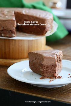 Triple Layer Chocolate Mousse Cake. Glutenfree Vegan Recipe. No Bake | Vegan Richa