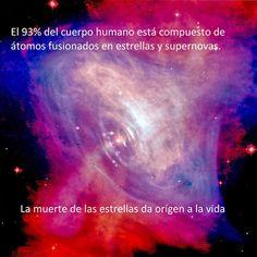 ... El 93% porciento del cuerpo humano está compuesto por átomos fusionados en estrellas y supernovas. La muerte de las estrellas da origen a la vida.