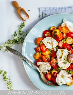 "Caprese Salad with Fresh Thyme Drizzle :: From the cookbook ""Brown Eggs and Jam Jars"", which I'm loving!"