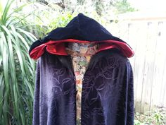 Black rose velvet hooded cloak. Lace trimmed black velvet cloak with shiny red lined hood. A great outergarment for cosplay, larp, and more. - pinned by pin4etsy.com