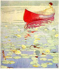 Walter J. Phillips, Gloaming, 1921 Color woodcut on paper, edition 50 Linocut Prints, Art Prints, Block Prints, Inspiration Art, Art Graphique, Wood Engraving, Art Design, Woodblock Print, Oeuvre D'art