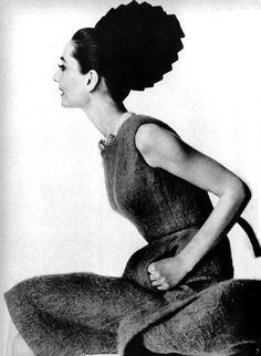 """Audrey Hepburn modeling Givenchy, in Vogue US, November 1, 1964, for the fashion editorial: """"Givenchy... Audrey Choices.""""  Photographed by Irving Penn."""