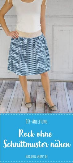 Sew skirt without sewing pattern - free instructions-Rock ohne Schnittmuster nähen – gratis Anleitung DIY instructions: Sew skirt without sewing pattern - Sewing Patterns Free, Sewing Tutorials, Clothing Patterns, Dress Patterns, Free Pattern, Sewing Projects, Pattern Sewing, Sewing Tips, Sewing Hacks
