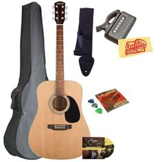 Fender Starcaster Acoustic Guitar Bundle with Gig Bag, Instructional DVD, Strap, Picks, Strings, Tuner, and Polishing Cloth - Natural - http://www.learntab.com/guitar-deals/fender-starcaster-acoustic-guitar-bundle-with-gig-bag-instructional-dvd-strap-picks-strings-tuner-and-polishing-cloth-natural-2/