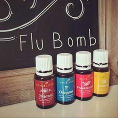 Flu bomb 4 drops lemon 4 drops thieves 3 drops oregano 2 drops frankincense Tho fill a capsule, fill it with CO