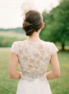 Pretty updo to showcase back of gown