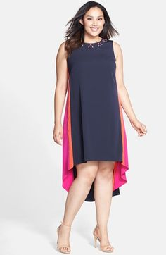 Vince Camuto Embellished Neck Colorblock High/Low Shift Dress (Plus Size) available at #Nordstrom