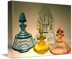 Antique Cut-Glass perfume Bottles by Yvonne Ayoub
