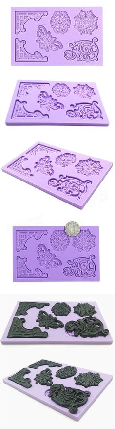 Decorative Pattern Embossed Fondant Mold Silicone Cake Mould Decorating Tool at Banggood