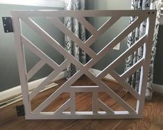 Geometric Gate - Cat Door - Pet Security Gate - Modern Baby Gate - Barn Door Pet Gate - Reclaimed Wood - Wooden Baby Gate - Dog Gate - by LumberLovin on Etsy Diy Dog Gate, Barn Door Baby Gate, Diy Baby Gate, Pet Gate, Dog Gates, Wooden Baby Gates, Basement Doors, Basement Stair, Half Doors