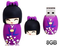 Novelty USB Flash Drive Memory Stick Cute Little Japanese Doll Purple Usb Drive, Usb Flash Drive, Cute Japanese, Japanese Doll, Pokemon Flareon, Kawaii Girl Drawings, Stationary Shop, Buy Smartphone, Usb Hub