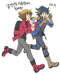 Yusei and Jaden running off eating some poor resturant's food. They probaly stole it. XD