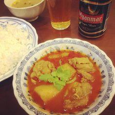 [カレー部番外編*2013/01/20]     ミャンマーカレー(鶏肉とじゃがいも)๑ˊ̱˂˃ˋ̱๑)♡       @SWE MYANMAR