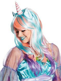 Einhorn Langhaar-Perücke mit Ohren türkis-beige , günstige Faschings  Accessoires & Zubehör bei Karneval Megastore, der größte Karneval und Faschings Kostüm- und Partyartikel Online Shop Europas!