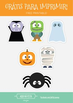 Halloween Free Printable - party flags, cake tops and food labels. Bandeirolas, topos de bolo e marcadores de comida. https://drive.google.com/open?id=0B6q2z4vKSvRAdVVTazFPb2w3bFU
