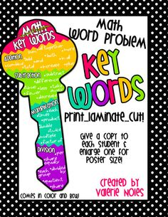 Math Word Problem KEY Words! Just Print, Laminate, and Cut. Give one to each student to help remember those key words & have one enlarged to poster size for your classroom!