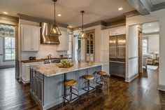 This tudor style home was designed by Millworks Designs and staged by Fresh Perspectives, sited in the Oak Hill area of Nashville, Tennessee. Home Decor Kitchen, New Kitchen, Home Kitchens, Kitchen Ideas, Farmhouse Kitchens, Coastal Farmhouse, Dream Kitchens, Farmhouse Design, Kitchen Designs