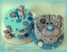 Tatty Teddy cake and smash cake - Cake by BunnyBlossom with patches and buttons in light blue and grey