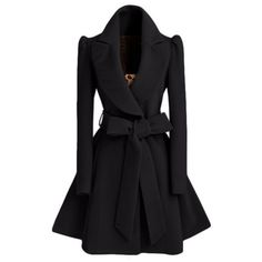 2016 Winter New Fashion Notched Lapel Coat with Bow Tie Belt ($33) ❤ liked on Polyvore featuring outerwear and coats