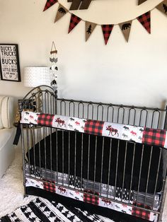 Black and Red Patched Rustic Woodland Bumperless Crib Bedding Woodland Baby Bedding, Baby Boy Crib Bedding, Baby Boy Cribs, Bedding Sets Online, Luxury Bedding Sets, Dinosaur Toddler Bedding, King Sheets, Bed Sheets, Restoration Hardware Bedding