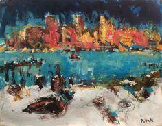 RussPotakArtist, Boston Harbor Impressionist Painting, original abstract art by RussPotakArtist on Etsy