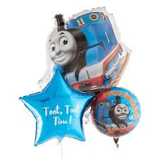 Say a very Special Message with this HUGE Thomas Balloon Bouquet:  Bouquet consists of:  1 x large Thomas Foil Balloon 2 x 45cm Thomas foil balloons 2 x Star foil balloons All balloon bouquets come helium inflated with matching ribbon & weight