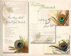 $20 | PEACOCK WEDDING INVITATION Printable Template - Golden Vintage Peacock | ABandIG | etsy
