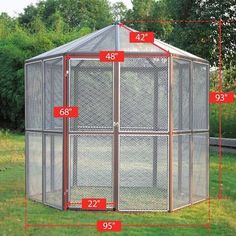 LAZYMOON Walk-in Hexagonal Bird Aviary Cage Birds Pets Parrot Canary House. Overall Size: each side L x H (from Ground to Top)Perfect for medium to substantial feathered creatures, for example, Macaws, African Gray and Cockatoos Portable Chicken Coop, Diy Chicken Coop, Large Bird Cages, Cages For Birds, Pet Bird Cage, Bird Netting, Bird House Kits, Bird Aviary, Parrot Toys